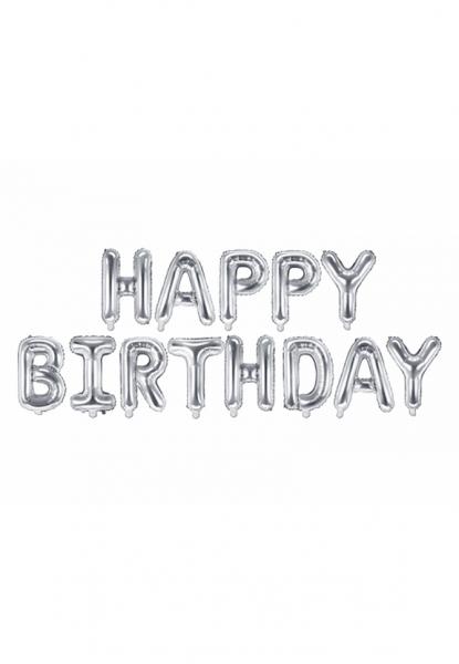 Schriftzug - Happy Birthday - Silber - Folienballon