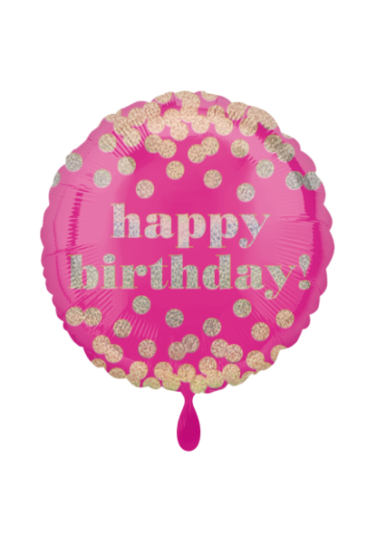 """Happy Birthday"" Geburtstags-Folienballon Pink Gold"