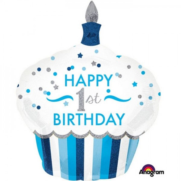 """Happy 1st Birthday"" Cupcake Folienballon"