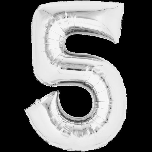Zahlenballon XXL Silber 5