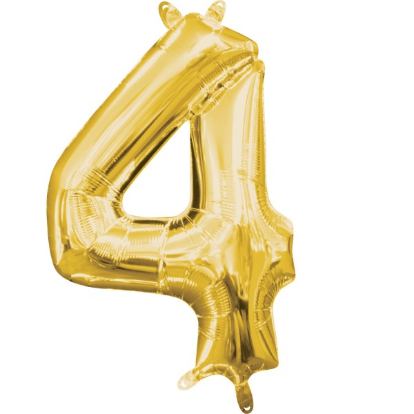 Zahl 4 Gold Folienballon