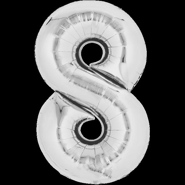Zahlenballon XXL Silber 8