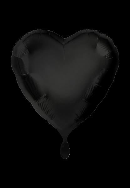 Satin Luxe Herz Schwarz Folienballon