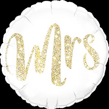 """""""Mrs"""" Glitzer Gold rund Folienballon"""