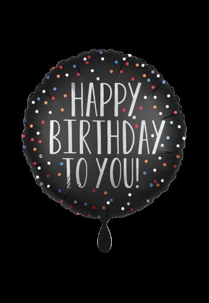 """""""Happy Birthday to you"""" Folienballon Schwarz-Weiss"""