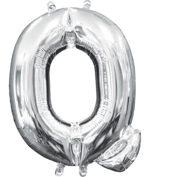 Buchstabenballon Silber XXL Q