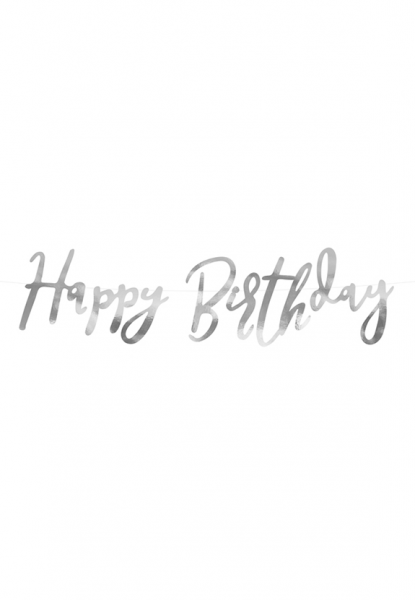 Bannergirlande - Happy Birthday - Silber