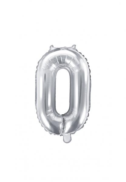 Zahlenballon XS Silber 0