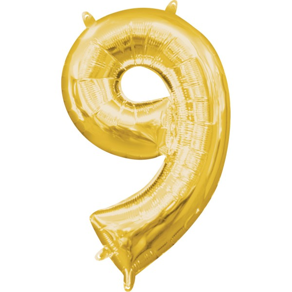 Zahl 9 Gold Folienballon
