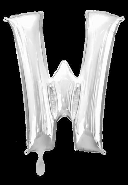 Buchstabenballon XXL silber W
