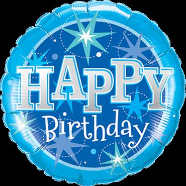 Geburtstag Blaue Sparkle Folienballon