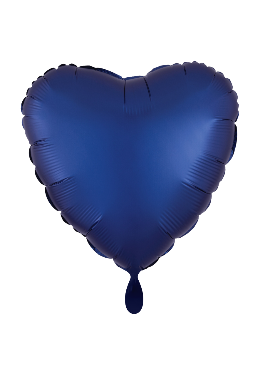 Herz Satin Dunkelblau Folienballon