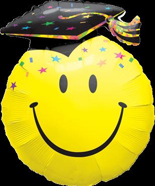 Abschluss - lustiger Absolvent Smiley - Folienballon