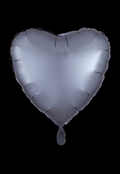 Herz Satin Graphitegrau Folienballon
