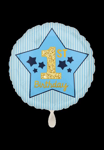 Boy 1st Birthday Blau & Gold Folienballon