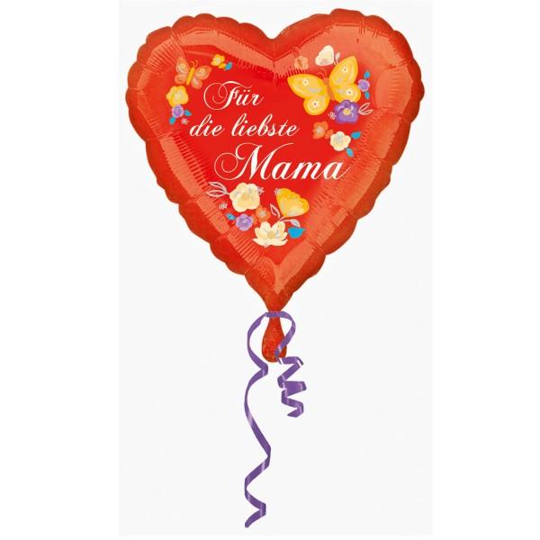 """""""Für die liebste Mama"""" herzförmig Folienballon"""