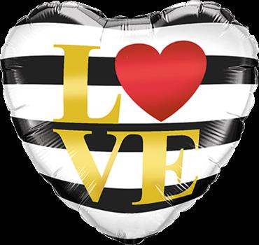 """L (Herz) VE"" Querstreifen herzförmig Folienballon"