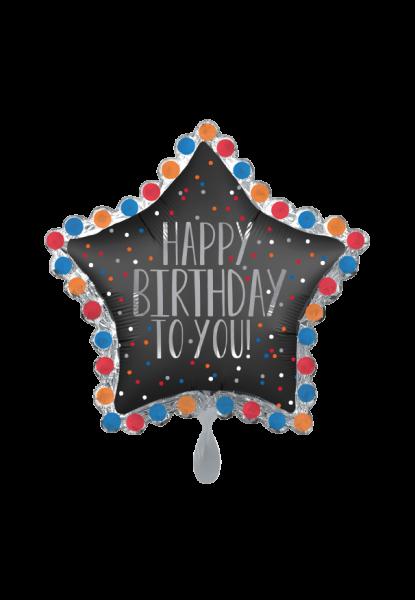 Happy Birthday to You Satin Star Folienballon